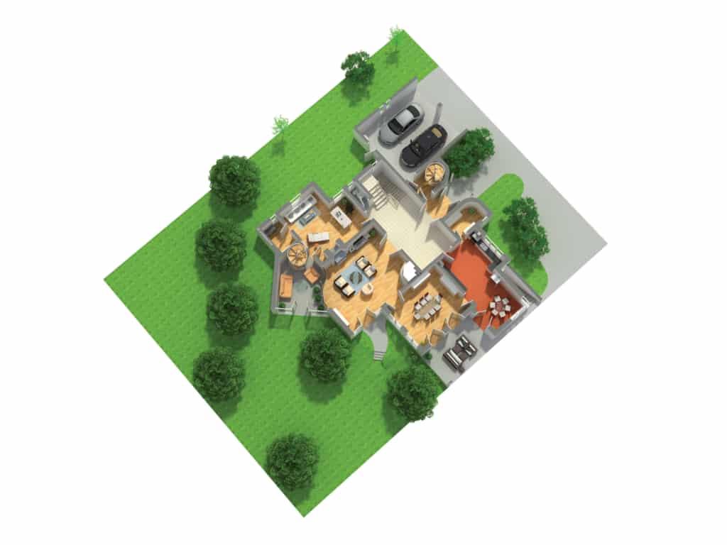 3D Grundschnitt zum Luxus Immobilienverkauf